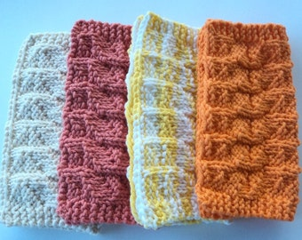 Square Dishcloths, Handmade, Knitted, Fall colors, Ripple Design, Kitchen