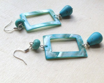 Turquoise Mother of Pearl Geometric Earrings SALE