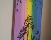 18 x 24 Abstract Original Acrylic Painting, pink, purple, yellow and blue - dare to be different funky flowers