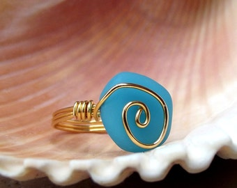 Blue Opal Seaglass Ring:  24K Gold Plated Swirl Spiral Wire Wrapped Beach Jewelry, Size 7-1/2