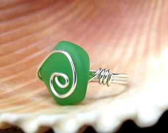 Spring Green Sea Glass Ring:  Fine Silver Swirl Spiral Wire Wrapped Dark Seafoam Beach Jewelry, Size 6