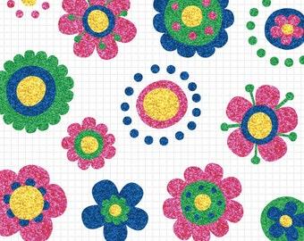 Glitter Flower Clipart, Mod Flower Clip Art, Glitter Clipart, Instant Digital Download Images, Commercial Use
