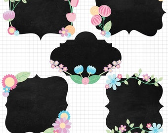 Pastel Flower Clipart Chalkboard Digital Frames with Floral Accents Download Images