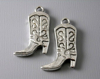 SALE 25% off - CHARM-AS-cwbt - Antiqued Silver Plated Cowgirl Boot Charms - 4 pcs