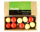 Vintage Vitalite Pool Balls Set / Snooker Balls in Red and White in Original Box (Made in England) - Collectible, Home Decor, Art Projects
