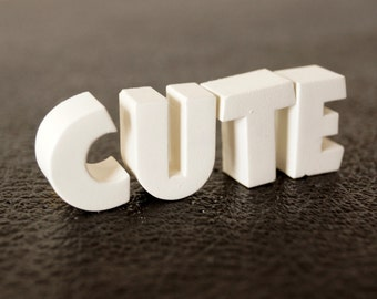 """Vintage White Ceramic Push Pins """"CUTE"""" - Bulletin Board Decor, Altered Art Supply, and more"""