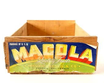 Vintage Macola Fruit Crate / Mauro Cocola and Co in Fresno California - Storage, Home Decor, and more