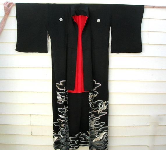 Formal Japanese Silk Kimono, black with embroidered cranes, sz M