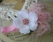 Baby Girl Headbands..White Flower Headband..Newborn ..White and Pink Flower Headband..Pink Feathers..Pink Rhinestones..Infant Girl..Toddler