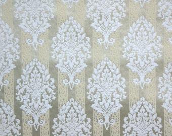 Vintage Flock Wallpaper by the Yard 70s Retro Flock Wallpaper - 1970s White Damask Flock on Gold