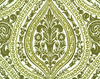 Retro Flock Wallpaper by the Yard 70s Vintage Flock Wallpaper - 1970s Two-Tone Green Flock Damask
