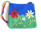 """Felt bag/tote """"Flower Meadow"""", pure wool, knitted, felted, floral, sky blue, green, poppy, daisy, bellflower, rainbow, OOAK, one of a kind"""
