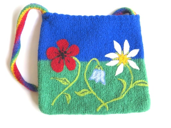 "Felt bag/tote ""Flower Meadow"", pure wool, knitted, felted, floral, sky blue, green, poppy, daisy, bellflower, rainbow, OOAK, one of a kind"