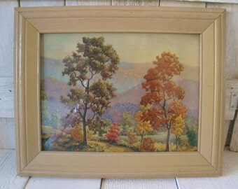 Vintage landscape print trees wood frame Shabby Chic