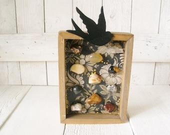 Framed collage polished agate black bird rock collection