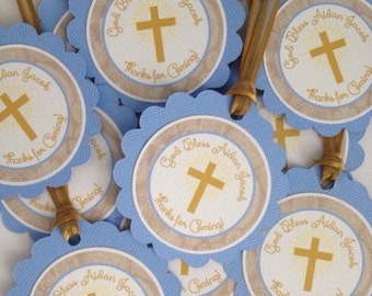 Baby Boy Baptism / Christening Favo r Tags - Baby Blue and Gold ...