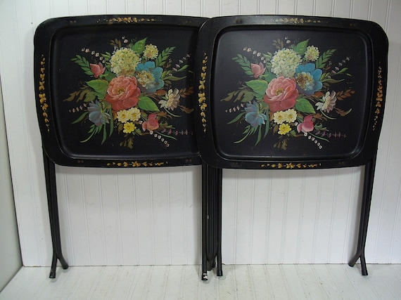Vintage Cal Dak Metal Folding Tray Tables Set Of 2 By