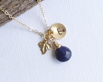 Gold Leaf Birthstone Initial Charm Trio Necklace... 14k Gold Filled Chain -- Sapphire Shown -- Personalized Choose Your Stone