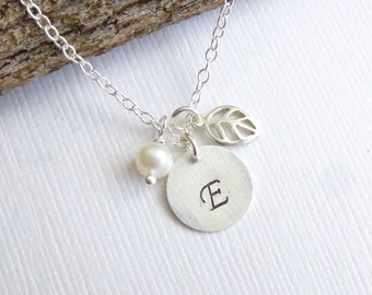 Sterling Silver Leaf, Personalized Initial, and Birthstone Necklace... Friendship... Bridesmaids Gift