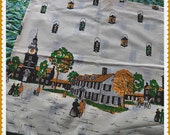 "Authentic Vintage 1950s Cotton Novelty Fabric - One Yard - 36"" Wide - The Village Green and Townspeople"