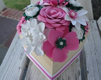 Paper Flower Centerpiece Wood Box - Paper Rose Peony Poppy Centerpiece - MADE TO ORDER