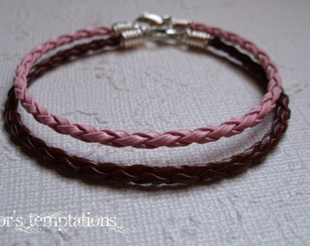 2 Leather Bracelets - Pink and Brown Braided Leather Bracelets Awareness Stacking Leather Bracelets Unisex Leather Bracelets
