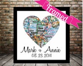 New Orleans Map Heart Poster Print FRAMED Any Location Available Wedding Sign Gift for Couple Personalized Wedding Gift Map Heart Art Gift