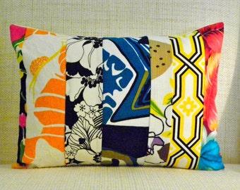 Throw Pillow Cover - Vintage Tropical Mod Patchwork - Black, White, Yellow, Orange & Blue - 12 x 16