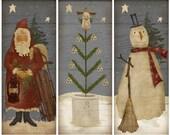 Primitive Christmas Trio Instant Download Print sheet
