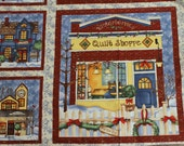 Folk Art Fabric, Quilt Squares, Quilt Panels, All Around The Town Fabric Panels by Wilmington Fabric, 24 x 42 Wide, 5 Panels, See Details