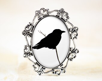 Crow Raven Brooch - Gothic Brooch, Raven Jewelry, Crow Brooch, Silver Bird Jewelry, Bird Silhouette Jewelry, Gothic Crow Jewelry
