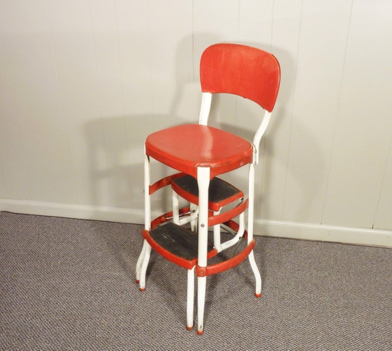 Cosco Chippy Red Metal Kitchen Cart Movable Painted Vintage: Chippy Red White Cosco 50s Vintage Step Stool Kitchen Stool