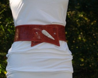 """Deep Dark Red Leather """"Croc"""" Belt with Rhinestone Accent and Button Snap Closures"""