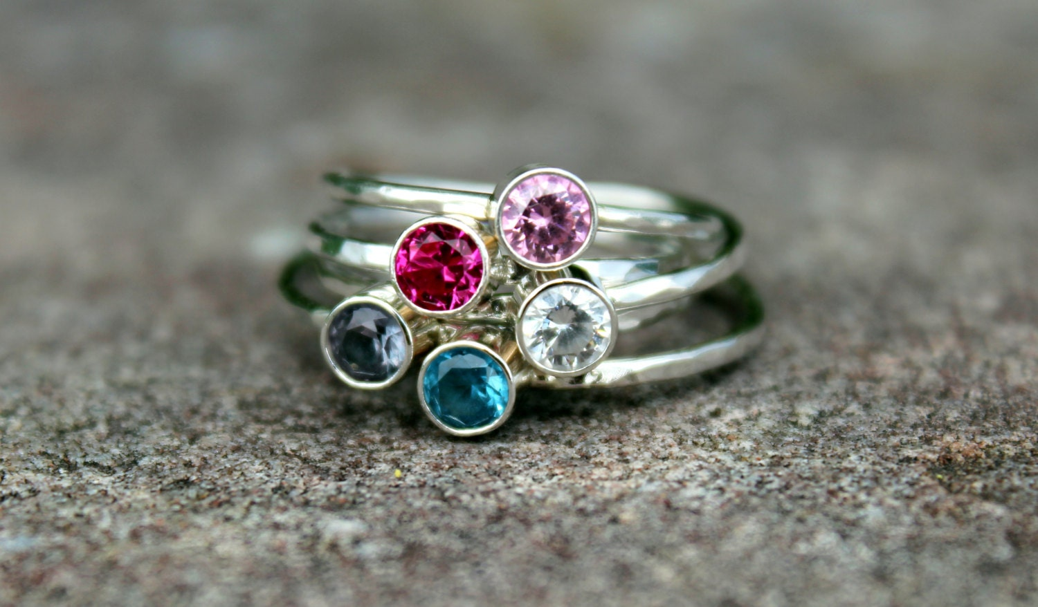 gemstone stacking ring birthstone ring mothers by. Black Bedroom Furniture Sets. Home Design Ideas