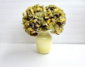 Green & Gold Silk Hydrangeas Arrangement In A Yellow Vase - IllusionCreations