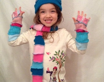 Teal and pink child or adult hat and glove set upcycled arm warmers Hope Floats Upcycled