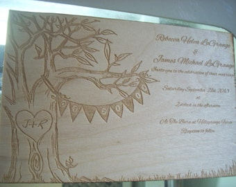 Laser Engraved wedding invitations, custom, amazing, one of a kind, save the date, birthday card, best wishes, dad, mom, thank you card