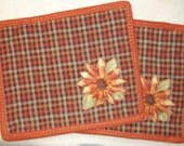 Fall Mug Rugs with Applique Sunflower in Rust, Brown, Gold soft Green