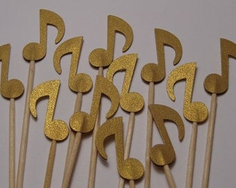 24 Gold Music Note Cupcake Toppers - Food Picks - Party Picks  Metallic Shimmer