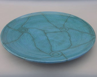 Large Pottery  Platter - Modern Classic - Aquamarine and Teal