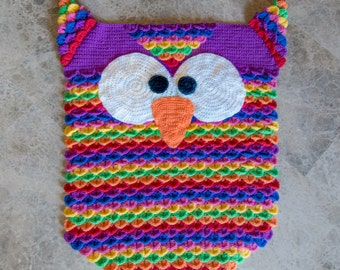 Instant Download - PDF CROCHET PATTERN - Colorful Owl Rug - Permission to Sell Finished Items