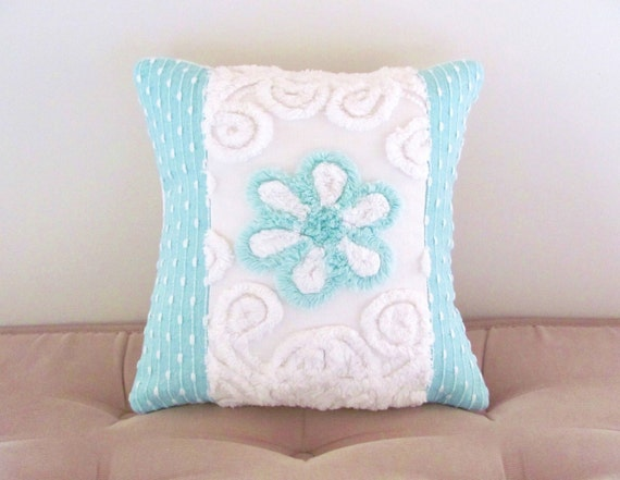 aqua pillow cover 12 X 12 AQUA ROSE vintage chenille turquoise cushion cover shabby white cottage style