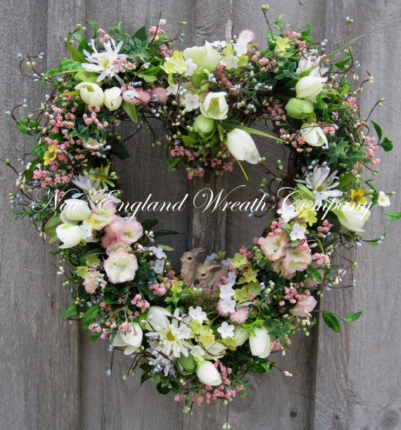 Easter Wreath, Heart Wreath, Spring Wreath, Bunnies, Garden, Summer Wreath, Nursery Decor, Mother's Day Gift, Designer Wreath
