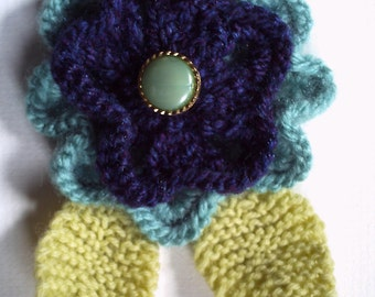 OOAK hand knitted flower brooch pin. Turquoise and navy blue. On Sale