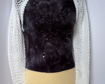 Sale. Women's hand knitted white lacy wedding / party shrug.  Small to medium.