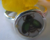 Broken China Ring Sterling Silver Ring  Bee Insect Any Size Ring Handcrafted - MaroonedJewelry