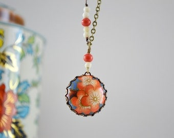Earth Friendly Repurposed Vintage Tin Pendant Necklace