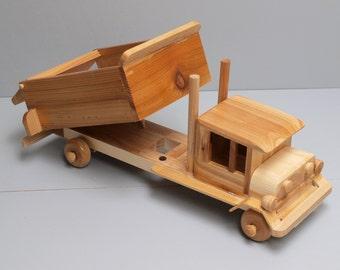 Large Toy Wooden DumpTruck Car Reclaimed Wood Kid's Preschooler Montessori Toy Natural Organic