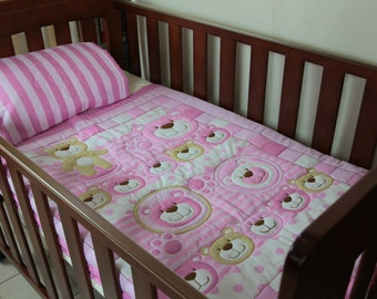 Traditional Pink Bears Baby Quilt with matching pillowcase