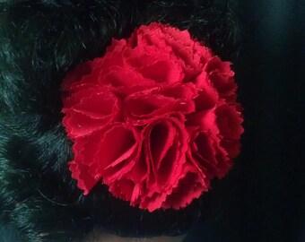 Red Fabric Flower, Fabric Carnation Flower Hair Clip